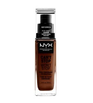 Nyx Professional Makeup - Can't Stop won't Stop Foundation - CSWSF24: Deep espresso